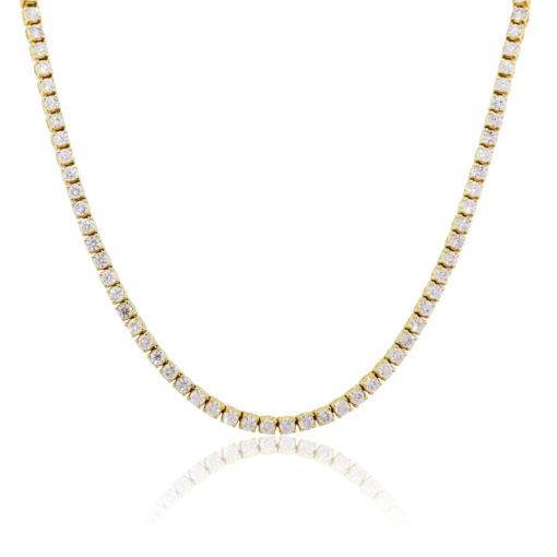 "14k Yellow Gold 30.77ctw Diamond 26"" Tennis Necklace"