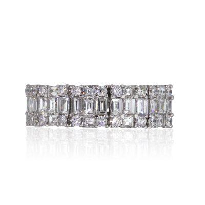 18k White Gold 1.98ctw Diamond Halfway Wide Wedding Band