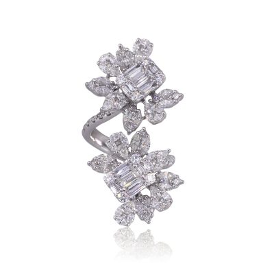 18k White Gold 3.63ctw Multi Shape Diamond Flower Bypass Ring