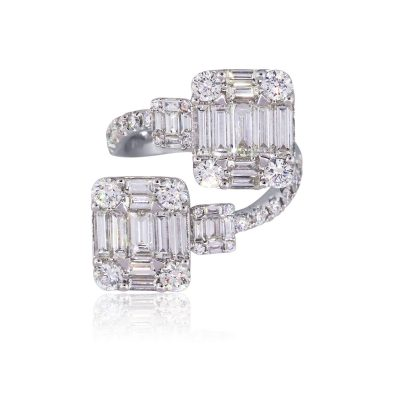 18k White Gold 3.70ctw Round and Baguette Shape Diamond Bypass Cluster Ring