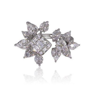 18k White Gold 3.05ctw Multi Shape Diamond Open Flower Ring