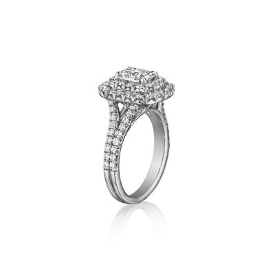 Henri Daussi 14k 0.51ct Cushion Diamond Halo Engagement Ring