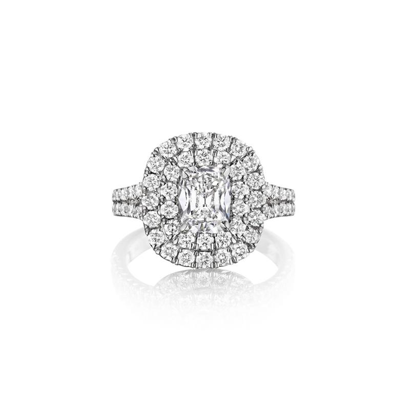 Henri Daussi ZDTS241O 14k White Gold 0.51ct Cushion Cut Diamond Double Halo Engagement Ring