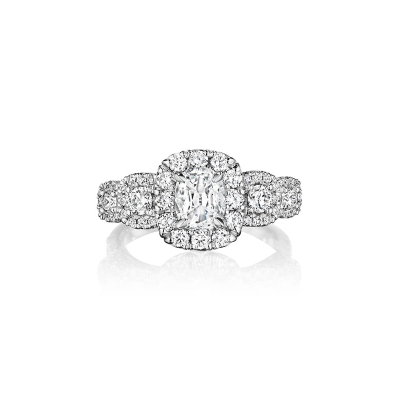 Henri Daussi ACMK5A 18k White Gold 1.10ct GIA Cushion Cut Diamond Halo Engagement Ring