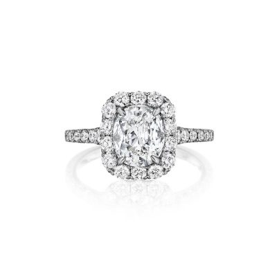 Henri Daussi AMDM815OA 18k White Gold GIA 0.50ct Cushion Cut Halo Engagement Ring