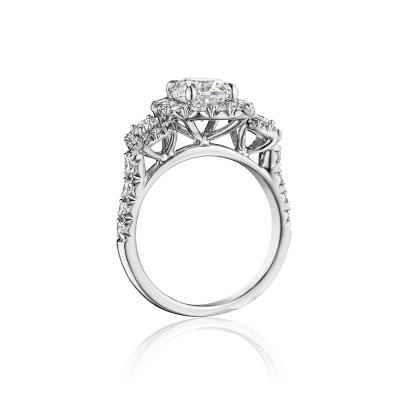 Henri Daussi White Gold 1.19ct Cushion Cut 3 Halo Engagement Ring
