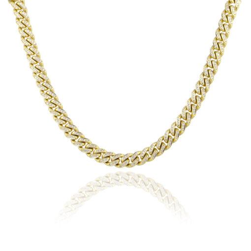 14k Yellow Gold 10ctw Round Diamond Pave Cuban Link Necklace