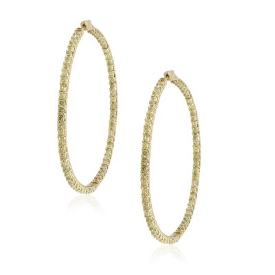 18k Yellow Gold 23.12ctw Radiant Diamond Inside Out Hoops