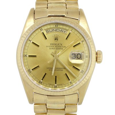 Rolex 18038 Day-Date 18k Yellow Gold Champagne Dial Watch