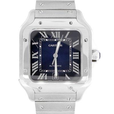 Cartier Santos Galbee Stainless Steel Blue Dial Watch