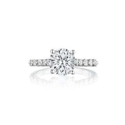 Henri Daussi ACL410 18k White Gold 2.05ctw GIA Cushion Cut Diamond Engagement Ring