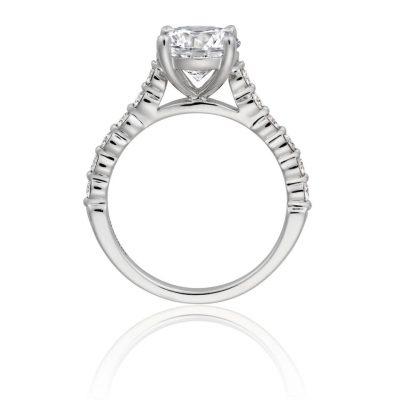 Henri Daussi ACL410 18k White Gold 2.05ctw GIA Cushion Cut Diamond Engagement Ring