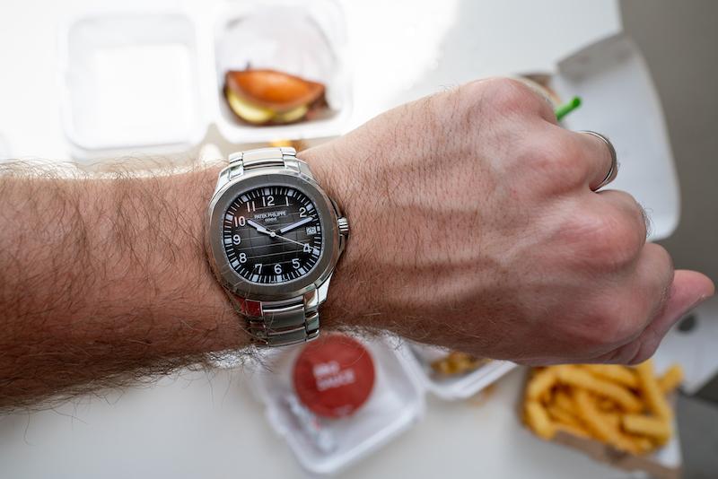 patek philippe aquanaut on wrist