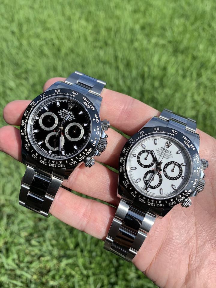 white dial vs black dial stainless steel rolex daytona
