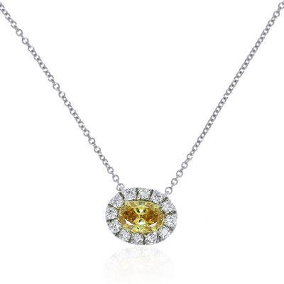 18k White Gold 0.50ct GIA Certified Fancy Yellow Oval Diamond Necklace