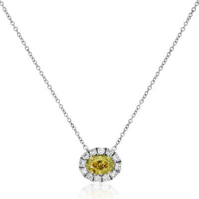 18k White Gold Fancy Yellow Diamond Necklace