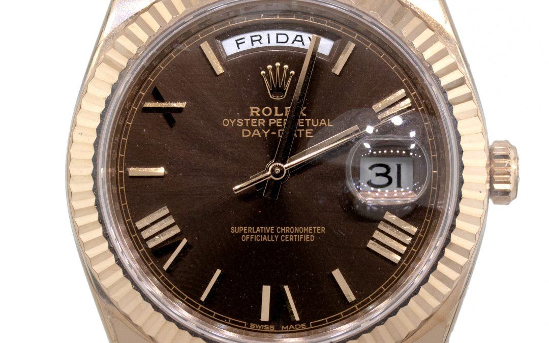 Rolex 228235 Day Date 18k Rose Gold Roman Chocolate Dial Watch