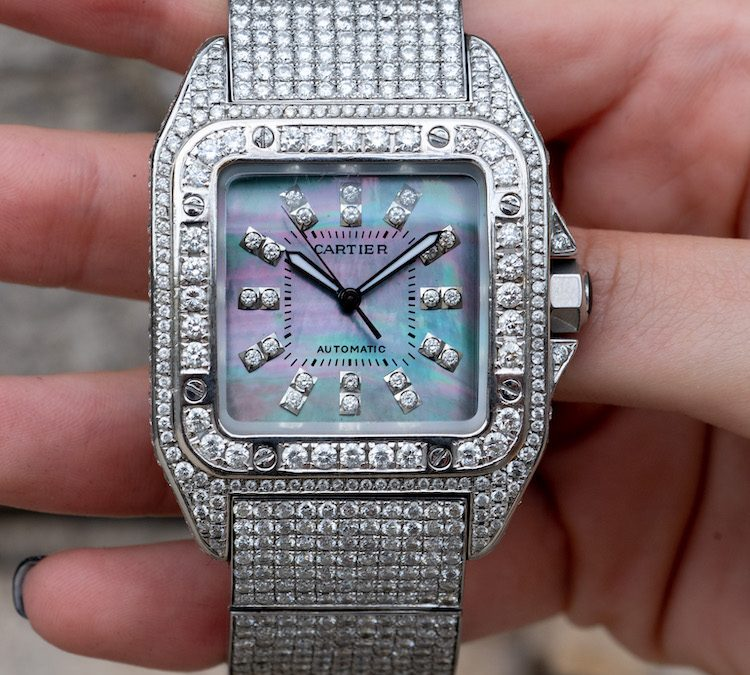 Review: Diamond Cartier Santos 100 with Mother of Pearl Dial