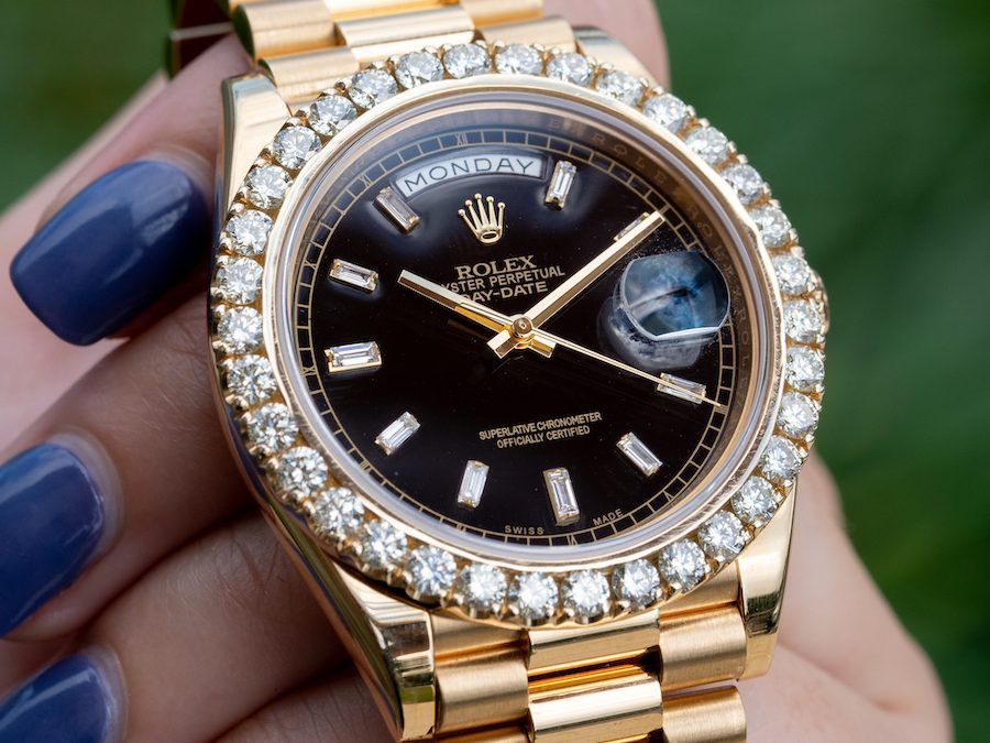 Rolex President Review: Peep this Chunky Diamond Bezel Yellow Gold Black Dial Day-Date 40