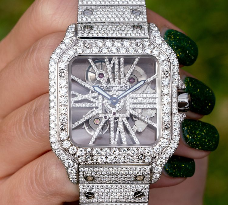 Hands-On With A New Fully Iced Out Santos de Cartier Skeleton Watch