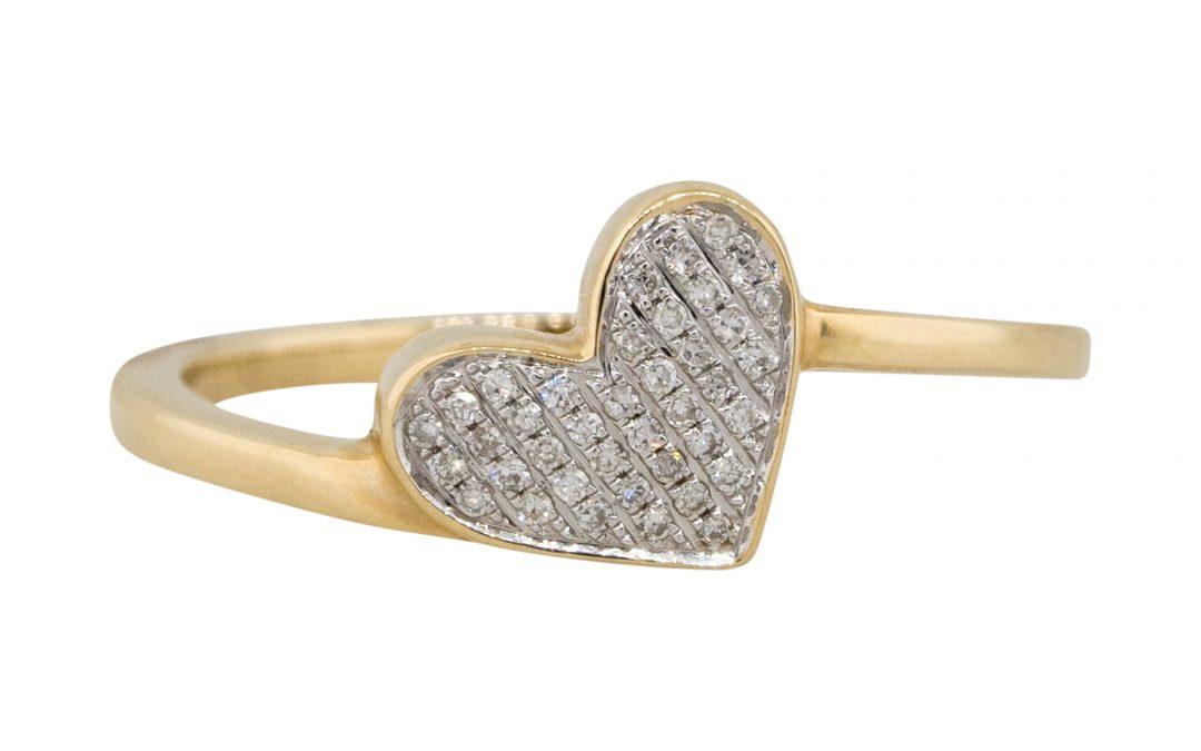 14k Yellow Gold 0.09ctw Diamond Pave Heart Shape Ring
