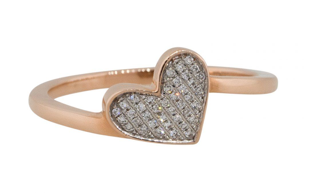 14k Rose Gold 0.09ctw Diamond Pave Heart Shape Ring