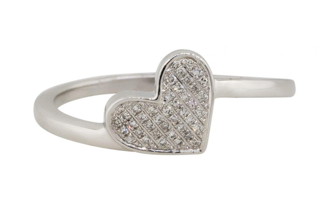14k White Gold 0.09ctw Diamond Pave Heart Shape Ring