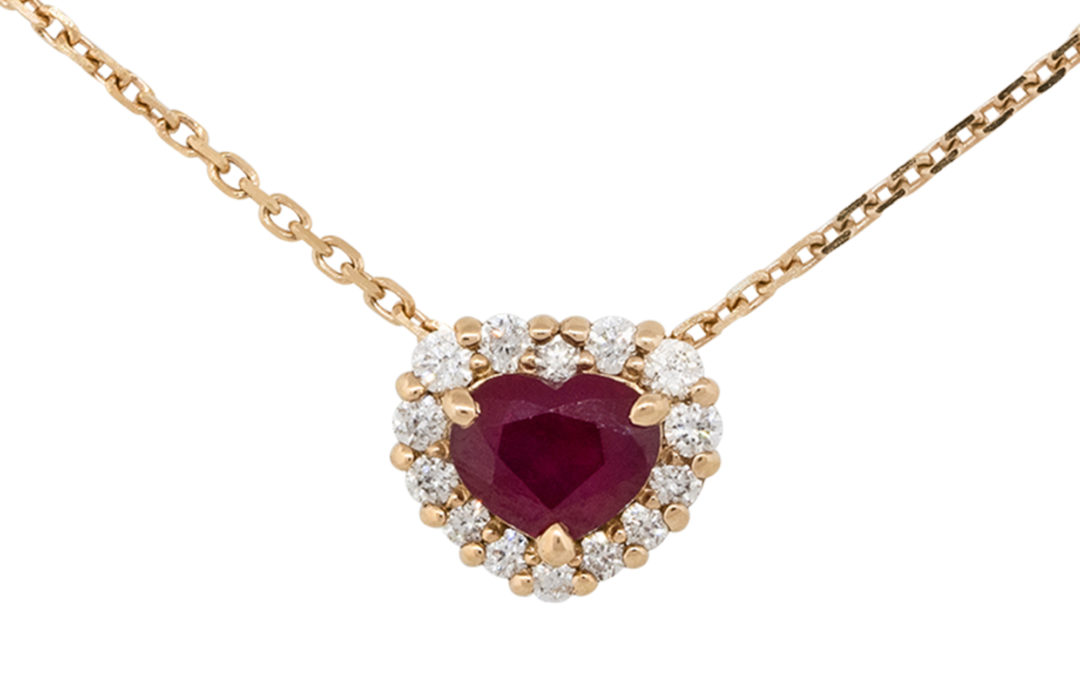 18k Rose Gold 0.91ct Heart Shape Ruby Pendant Necklace With Diamonds